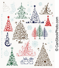 sæt, træer, jul, konstruktion, dekorationer, din