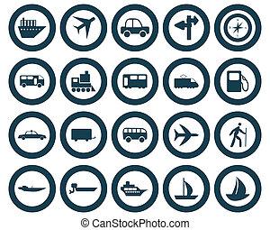 sæt, transport, iconerne