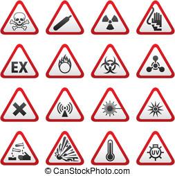sæt, trekantet, advarsel, hazard underskriv