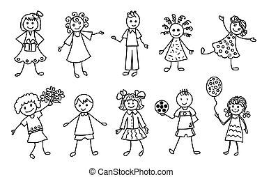 sæt, udkast, doodle, hånd, sort, affattelseen, børn