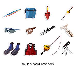 sæt, udrustning, fiske, redskaberne, cartoon, ikon
