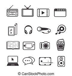 sæt, underholdning, iconerne
