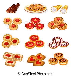 sæt, velsmagende, sand, småkager, og, kage