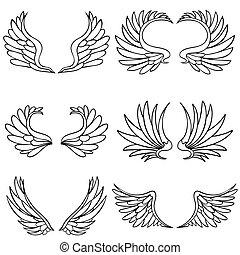 sæt, vinge, engel