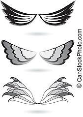 sæt, vinger, engel