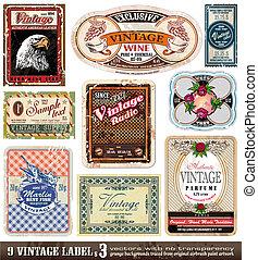 sæt, vinhøst, etiketter, -, samling, 3