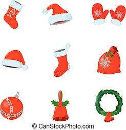 sæt, xmas., isoleret, illustration, jul, vektor, icon., style., cartoon, dag