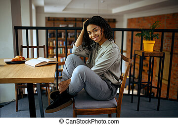 séance, étudiant, café, bibliothèque, table