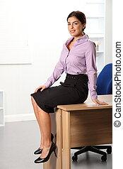 séance, affaires femme, bureau