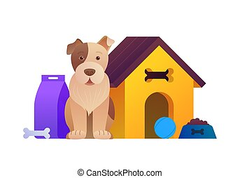 séance, animal, dessin animé, composition, chien, magasin