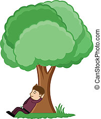 séance, arbre, homme, sous