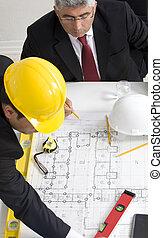séance, architectes, conception projet, au-dessus, table, discuter, vue