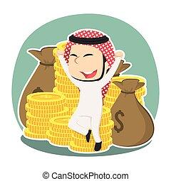 séance, argent, arabe, tas, homme affaires, heureux