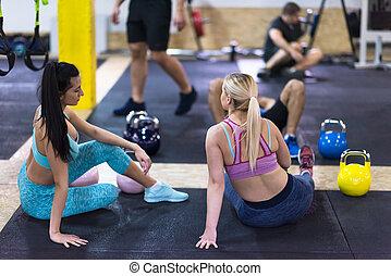 séance, athlètes, jeune, délassant, plancher
