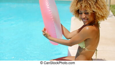 séance, bord, sexy, girl, piscine, heureux
