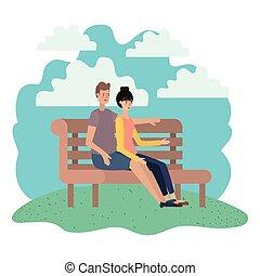 séance, caractère, couple, parc, avatar, chaise