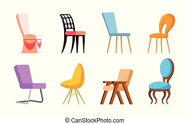 séance, chaises, siège, vecteur, endroit, doux, conception