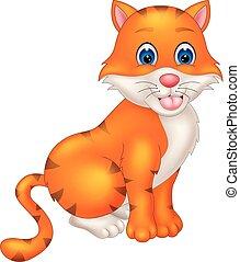 séance, chat blanc, mignon, orange, dessin animé
