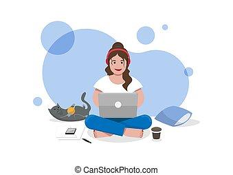 séance chat, plancher, femme, usage, ordinateur portable