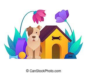 séance, chien, magasin, dessin animé, composition, animal