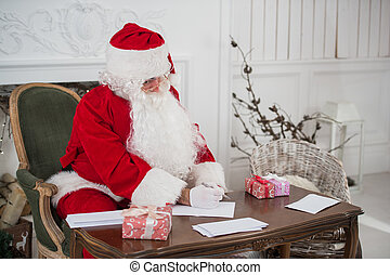 séance, claus, écriture, papier, santa, table
