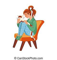 séance, coloré, style, illustration, dessin animé, fauteuil, cat., girl, mignon, orange, vecteur