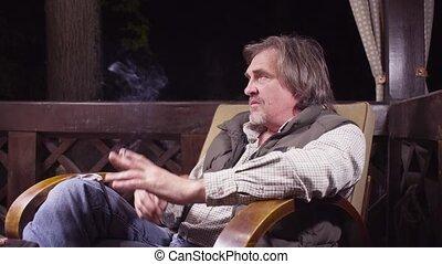 séance, conversation, fumer, personne agee, chaise, homme