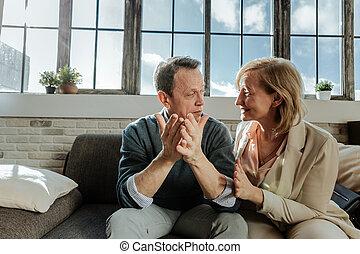 séance, couple, âge moyen, regarder, quoique, beau, autre