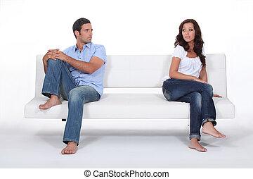 séance, couple, après, divan, séparément, querelle