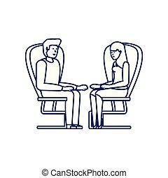 séance, couple, caractère, jeune, avatar, chaise