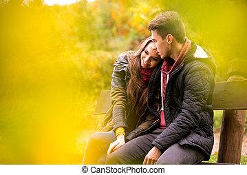 séance, couple, garez banc, automne, aimer
