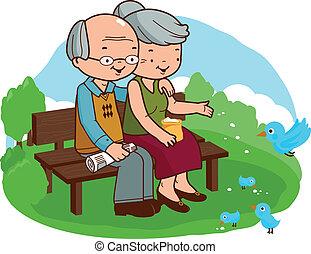 séance, couple, illustration, banc, vecteur, personne agee, park.