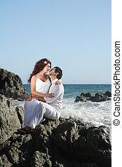 séance, couple, jeune, rochers, baisers, plage