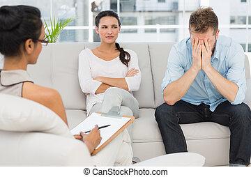 séance, couple, malheureux, sofa, thérapie, séance