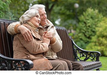 séance, couple, parc, personnes agées, banc, automne, heureux