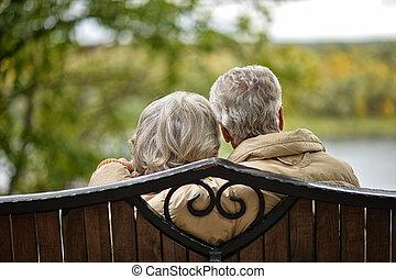 séance, couple, parc, personnes agées, banc, automne