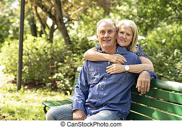 séance, couple, peu profond, garez banc, champ, profondeur, personne agee