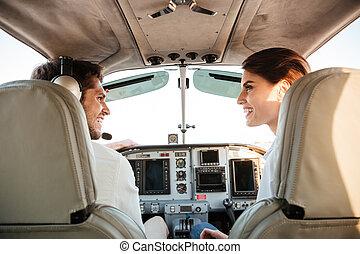 séance, couple, regarder, quoique, autre, chaque, avion, intérieur, cabine