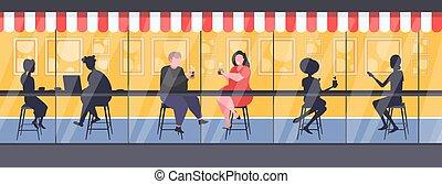 séance, couple, rue, discuter, hommes, moderne, bureau, réunion, extérieur, obèse, graisse, compteur, silhouettes, femmes, café, plat, concept, longueur, entiers, pendant, café, horizontal, obésité, boire