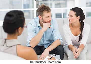 séance, couple, thérapie, malheureux