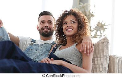 séance, couple, travail, jeune, divan, vêtements