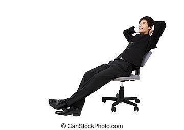 séance, décontracté, jeune, isolé, portrait, homme affaires, blanc, chaise