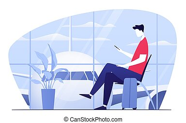 séance, départ, illustration, jeune, salon, téléphone, aéroport, vecteur, homme
