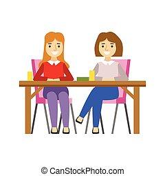 séance, dessert, petites amies, personne, vecteur, illustration, doux, sourire, café, avoir, table, patisserie