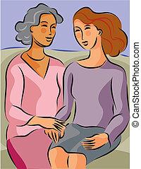 séance, deux, illustration, autre, confiance, chaque, femmes