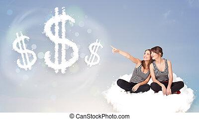 séance, dollar, jeune, suivant, signes, nuage, femmes