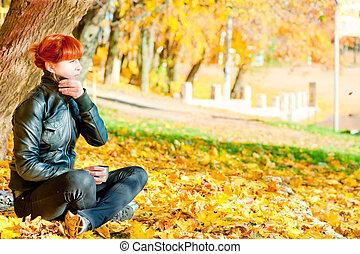 séance, ensoleillé, automne, girl, jour, érable