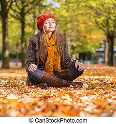 séance, ensoleillé, parc, automne, girl, jour, terrestre