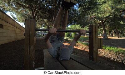 séance entraînement, abs, parc