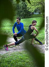 séance entraînement, couple, parc, jeune